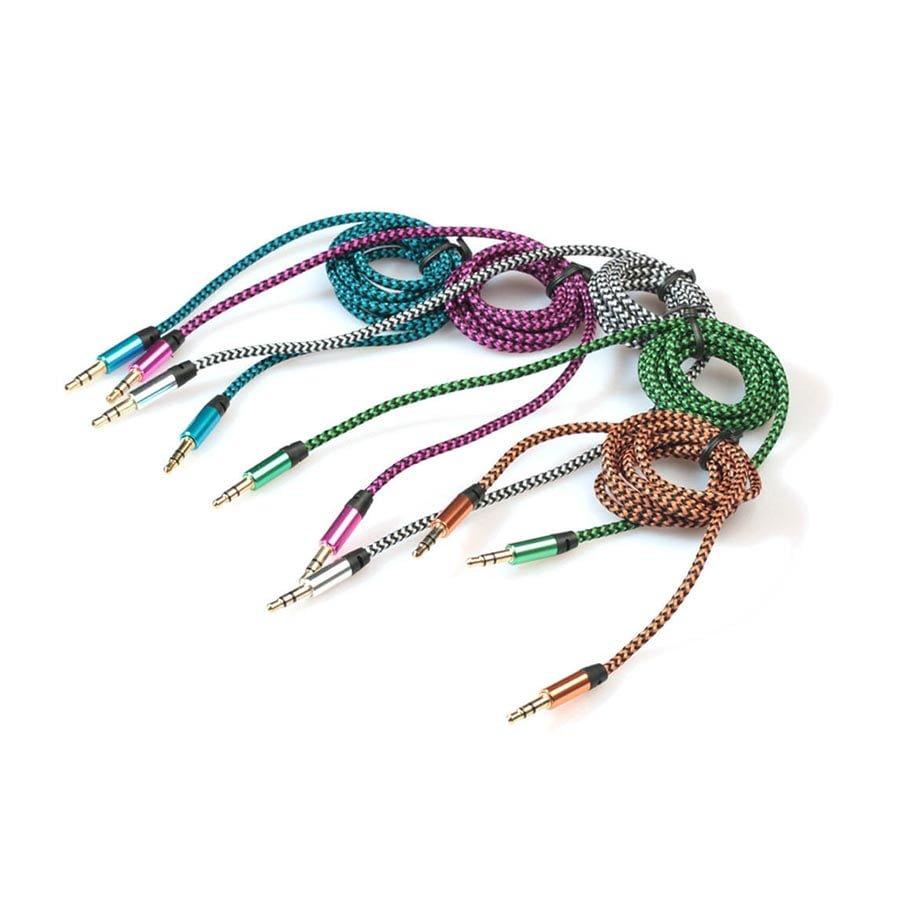 Cablu auxiliar 3.5mm la 3.5mm din material textil