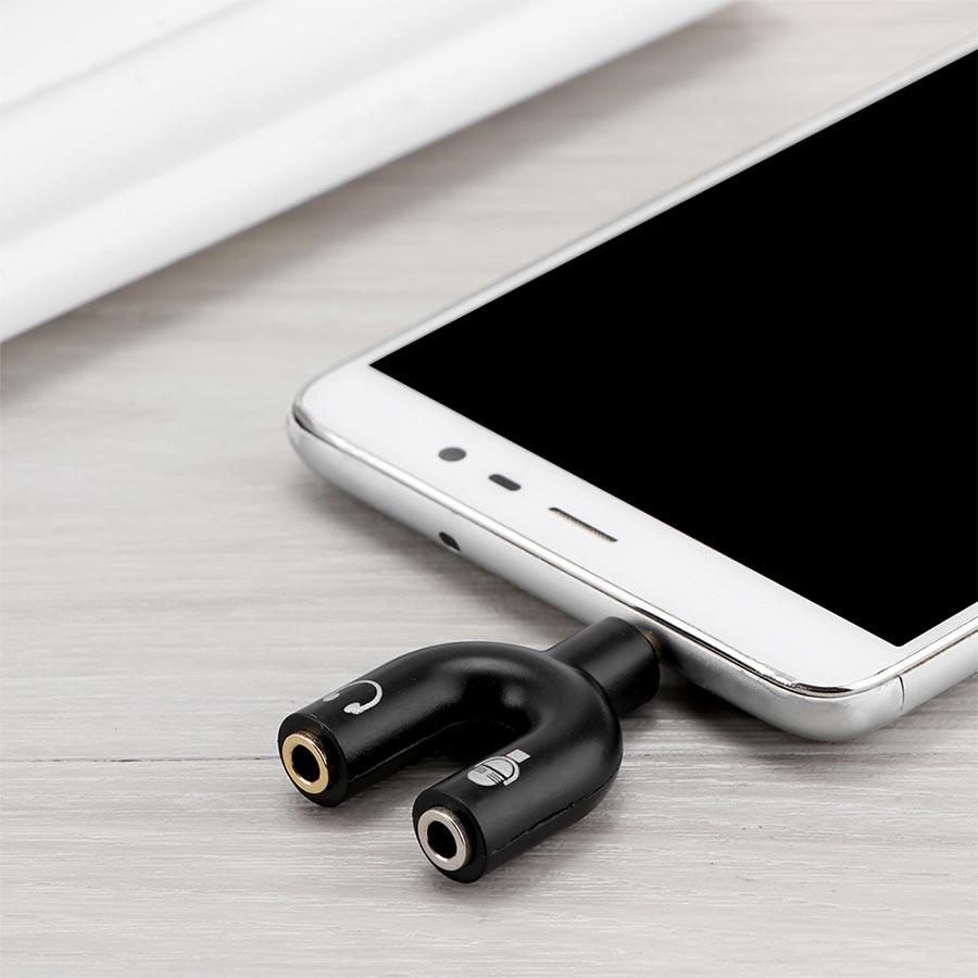 Adaptor jack 3.5mm pentru casti si microfon