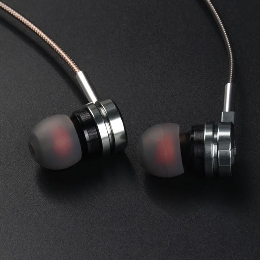 Casti HIFI tip dop in-ear metalice cu microfon pe fir jack 3.5mm