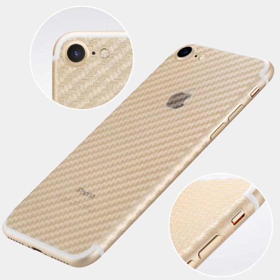 Folie iPhone 8 pentru spate din TPU textura fibra de carbon