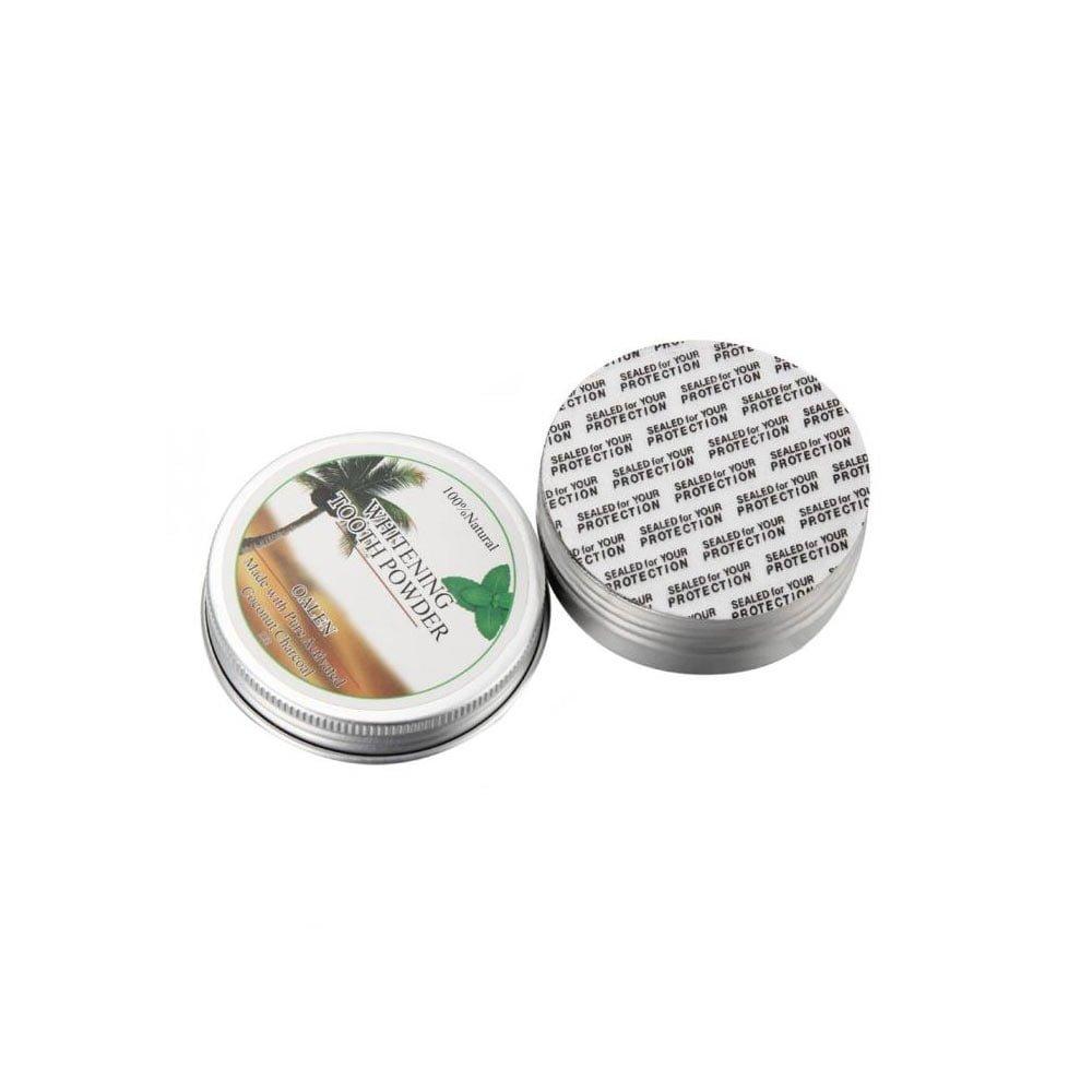 Pudra albire dinti din carbune de cocos 100% natural efect exfoliant aroma menta