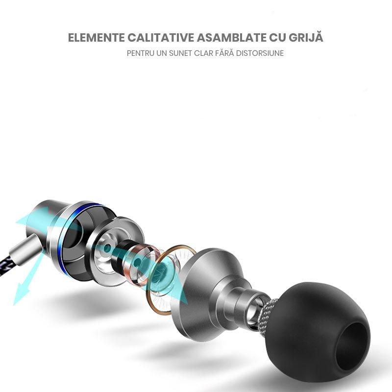 Casti HIFI metalice cu cablu siliconat si control multimedia pe fir jack 3.5mm negre