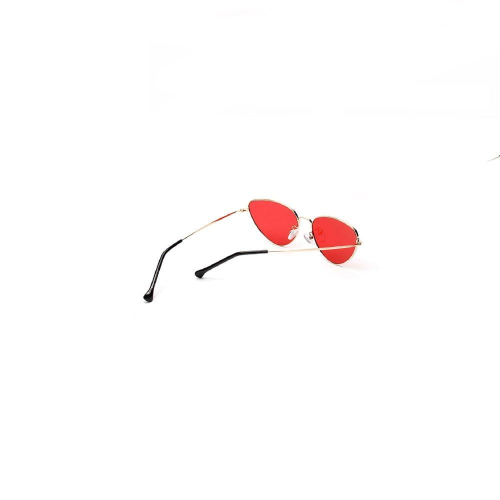 Ochelari de soare dama aspect retro cu lentile alungite rosii