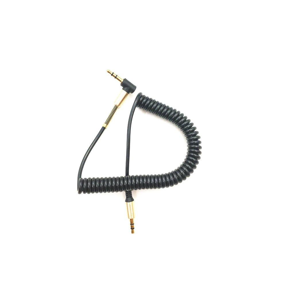 Cablu auxiliar masina jack 3.5mm la 3.5mm in L din cauciuc elastic
