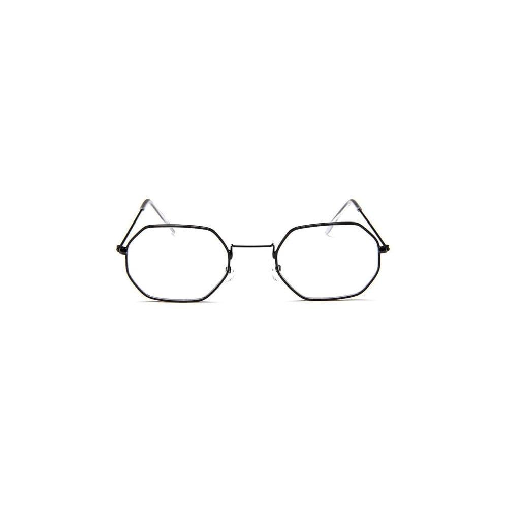 Ochelari lentile transparente forma iregulata din metal UV400