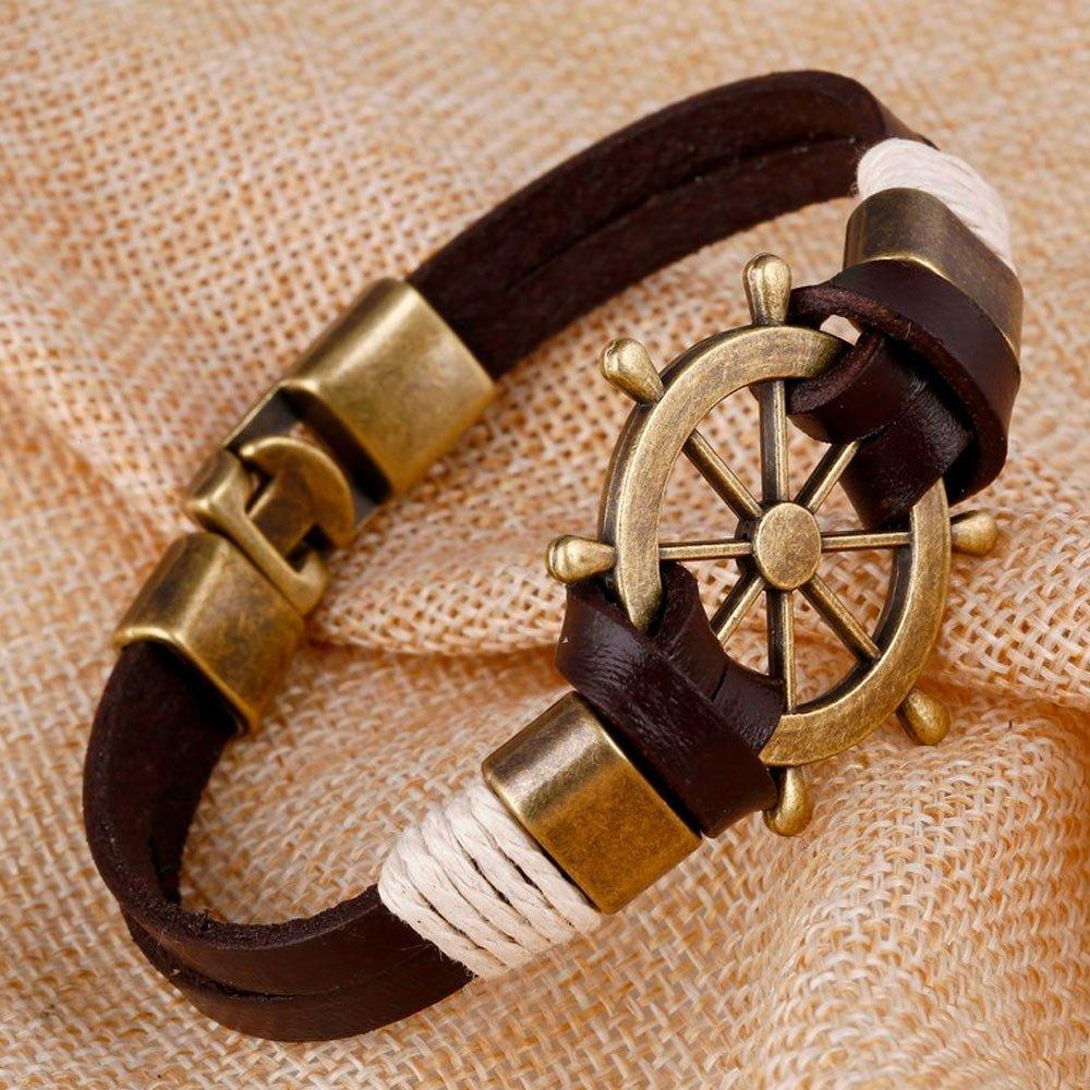 Bratara carma corabie metal inoxidabil aspect vintage culoare maro