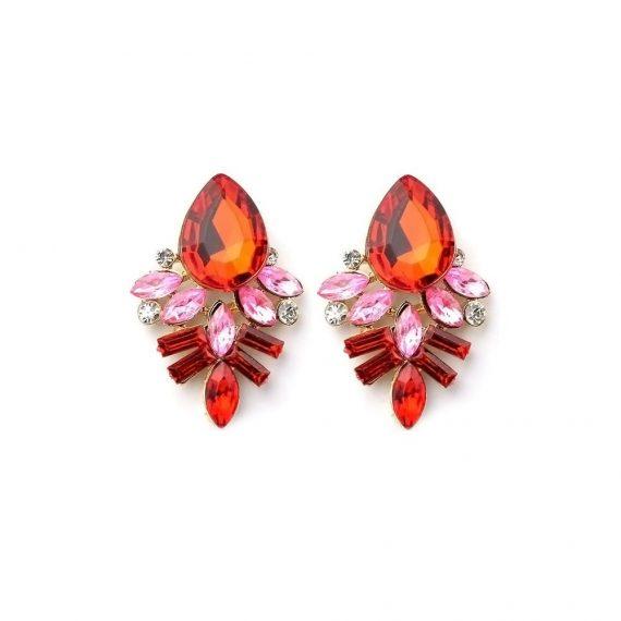 Cercei dama fashion din aliaj nepretios cu cristale colorate