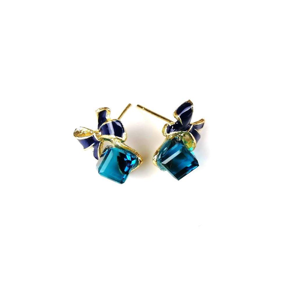 Cercei dama din aliaj Zinc cu fundite si cristale albastre