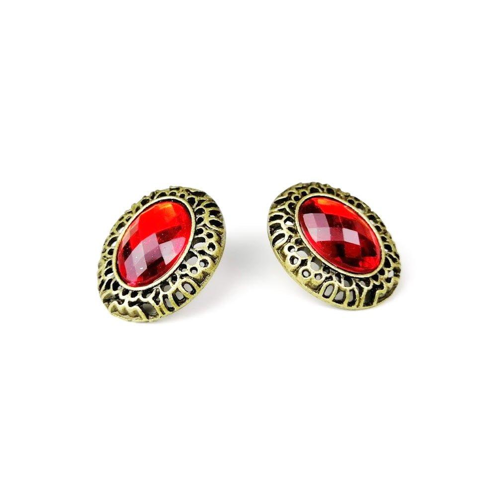 Cercei din aliaj Zinc pentru femei cu cristal rosu si aspect vintage