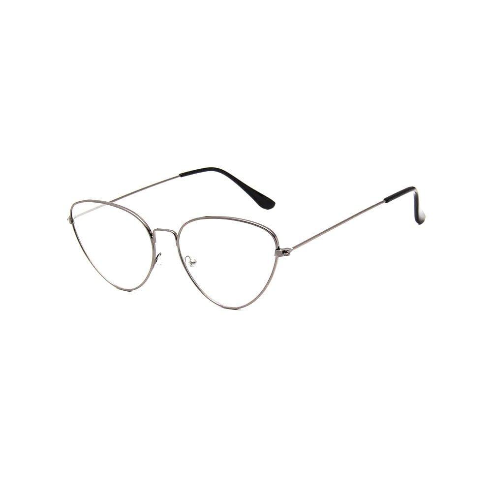 Ochelari lentile transparente metalici aspect vintage ochi de pisica