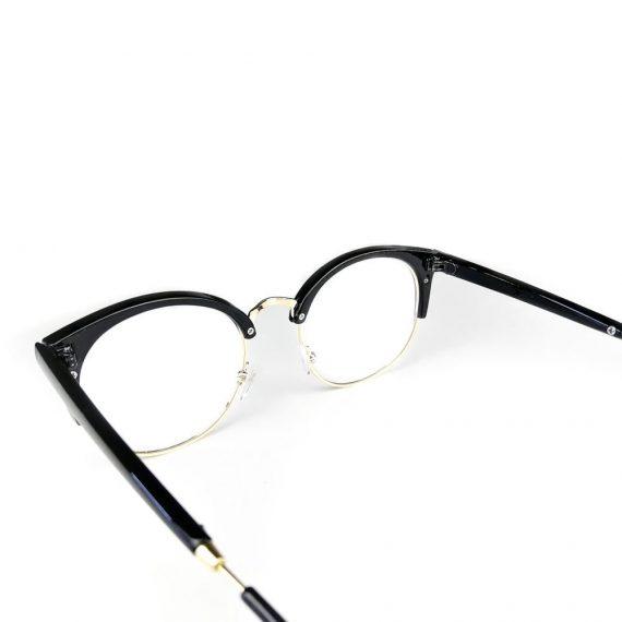Ochelari lentile transparente aspect cat-eyes cu balama metalica