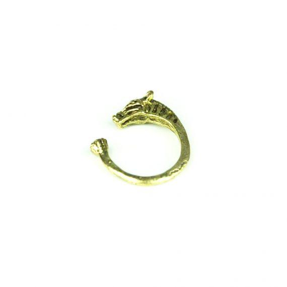 Inel auriu pentru femei cu aspect de ponei cu insertii albe din policarbonat