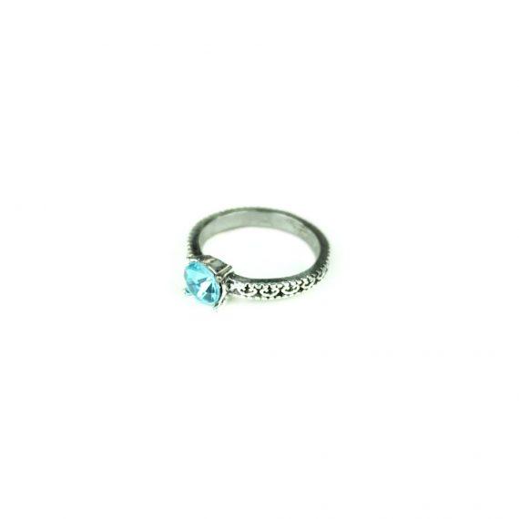 Inel din aliaj zinc pentru femei cu piatra albastra din Zirconium lucrat manual